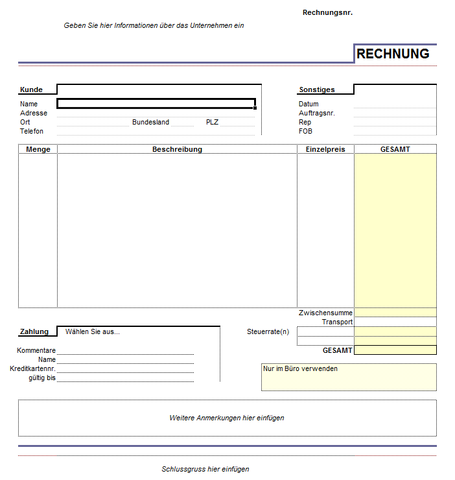 Excel Rechnung - (Excel, Tabelle)