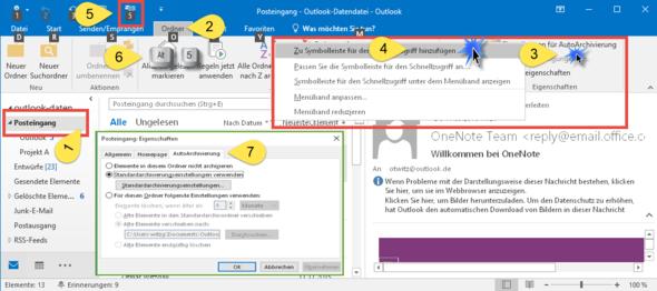 Archivierung per Tastenkombination starten - (Computer, PC, E-Mail)