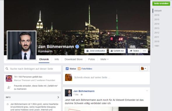 Screenshot Facebook - (Facebook, Böhmermann)