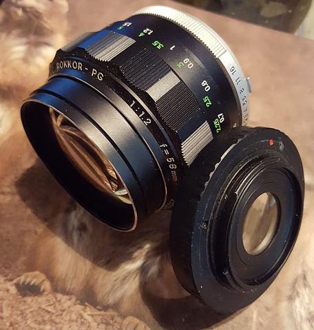 58mm Rokkor und Adapterring - (Kamera, Fotografie, Objektiv)