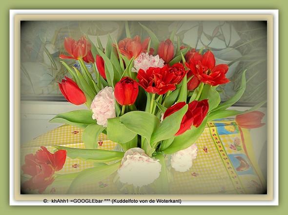 in etwas: Tulpen in der Kugelvase ein muss zum biegen! - (Natur, Wachstum, Blumen)