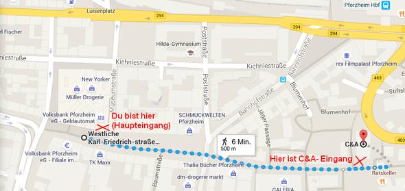 Route vom Schlössle Galerie zu C&A - (shoppen, Pforzheim, ca.)