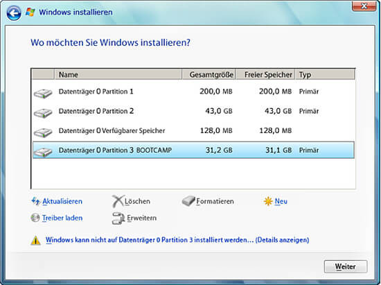 So sollte der Festplatten Auswahl Bildschirm aussehen - (Computer, Freizeit, Windows)