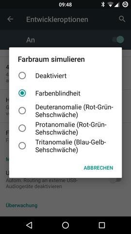"""""""Farbenblindheit"""" auswählen - (Handy, Smartphone, Bildschirm)"""