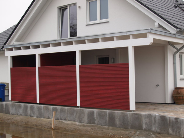 Abgrenzung mit Mauerscheiben (Bild: carport-visionen.de) - (Grundstück, Nachbarschaft, Garage)