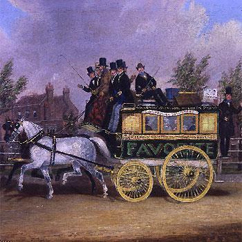 1828: Kutsche in London - (London, london-busse, rote-busse-london)