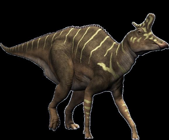 Ein Lambeosaurus mit nach oben gestrecktem Kamm. - (Freizeit, Uhrzeit, Geräusche)