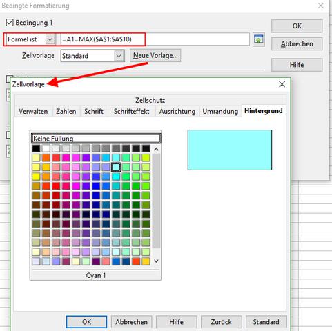 Bedingte Formatierung - (Open Office, Höchstwert markieren)