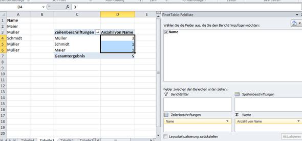 - (Namen, Excel, Sortieren)