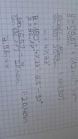 Die Rechnung - (Mathe, sinussatz)