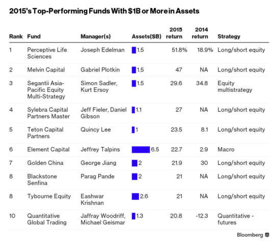 Top 10  Hedgefonds Performance 2015 - (Geld, Bank, USA)