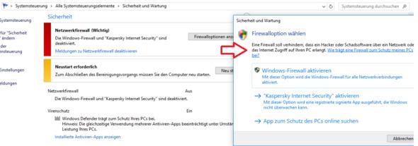 Firewall lässt sich nicht aktivieren - (Windows 10, Firewall, Kaspersky)