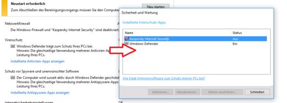 Windows Defender ist aktiv, Kaspersky nicht - (Windows 10, Firewall, Kaspersky)