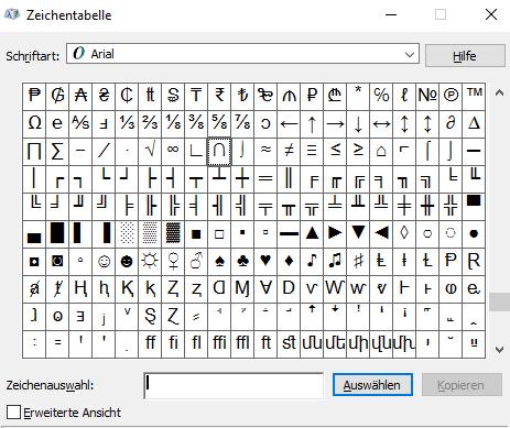 Zeichentabelle - (Computer, PC, Windows)