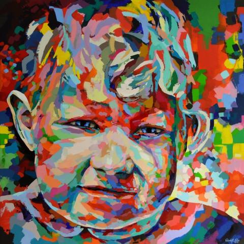 Susi,     Acryl auf Leinwand,  Maße: 130 x 130 x 4 cm  - (spachteln, acrylmalerei)