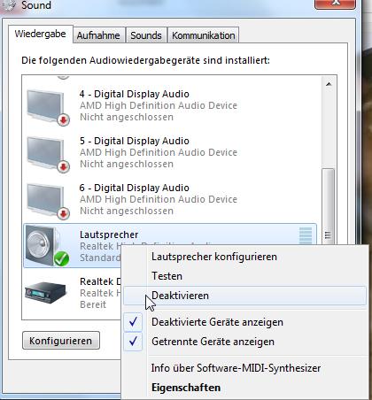 deaktivieren - (PC, monitor-lautsprecher)