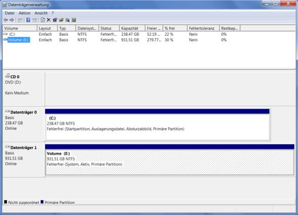 Datenträgerverwaltung - (Windows 7, Festplatte, Daten)