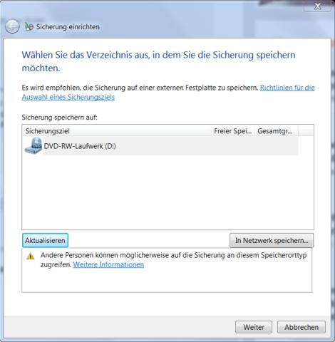 Sicherung einrichten - (Windows 7, Festplatte, Daten)