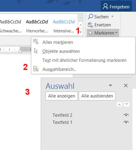 Markieren - (Computer, Software, Word)