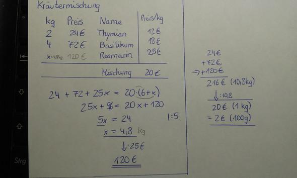 - (Mathematik, Mischungsrechnungen)