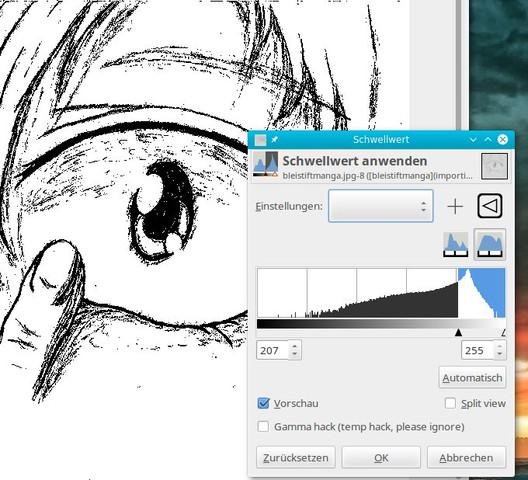 Gimp Schwellwert bei Bleistiftzeichnung - (Programm, Manga, Tipps)