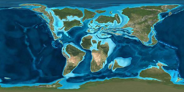 Kontinente in der Kreidezeit  - (USA, Wasser, Meer)