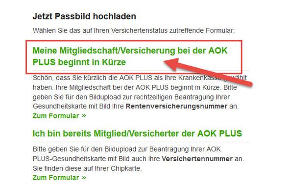 Screenshot Website - (AOK, Bild upload)
