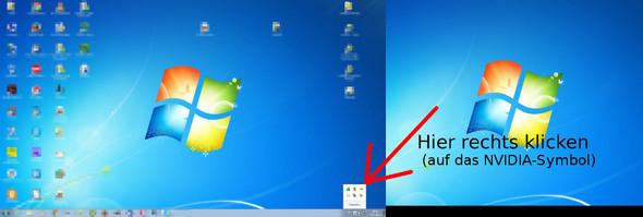 Rechts klicken und dann auf NVIDIA-Systemsteuerung - (PC, Monitor)