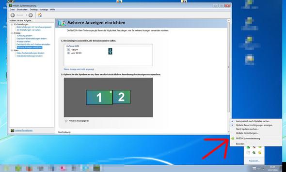 Hier kannst Du den zweiten Monitor aktivieren - (PC, Monitor)