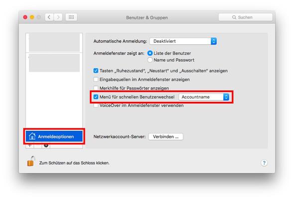 OS X, Benutzer, schneller Wechsel - (Computer, Internet, Mac)