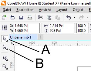 Bild 2 Auswahl und Form Werkzeug - (Software, Grafik, Corel)