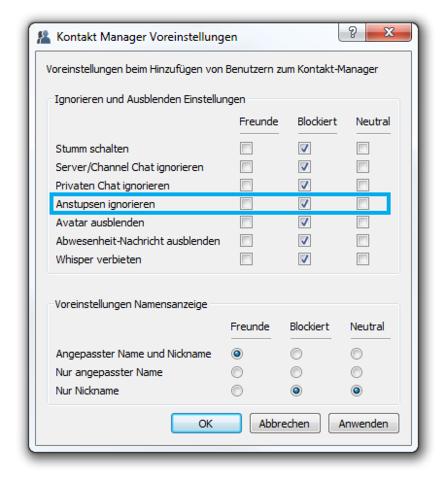 Kontakt Manager Voreinstellungen - (Teamspeak, ts3, Teamspeak 3)