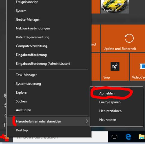 abmelden - (Windows 10, abmelden)