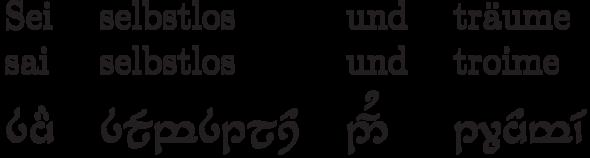 Sei selbstlos und träume in Tengwar - (Tattoo, elbisch, Transkription)