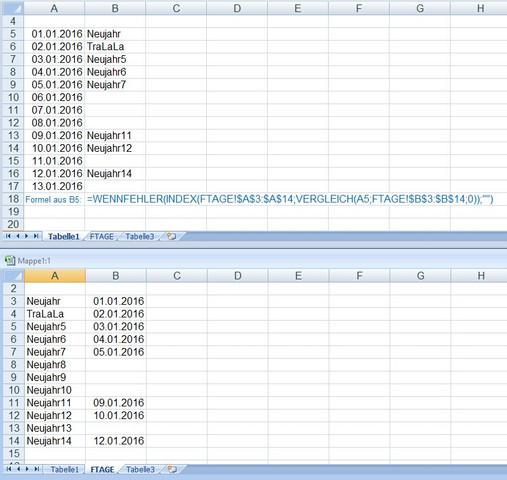KalenderFTag - (Excel, Sverweis)