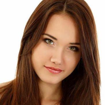 Weiblich dunkelbraune haare und braune augen