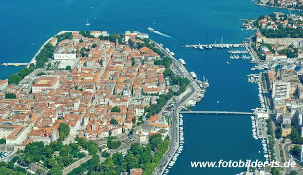 Zadar, Halbinsel von oben gesehen - (Fake, Kroatien, basar)