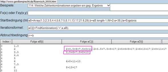Kombinationen per Iterationsrechner online suchen - (Computer, Mathe, Programm)
