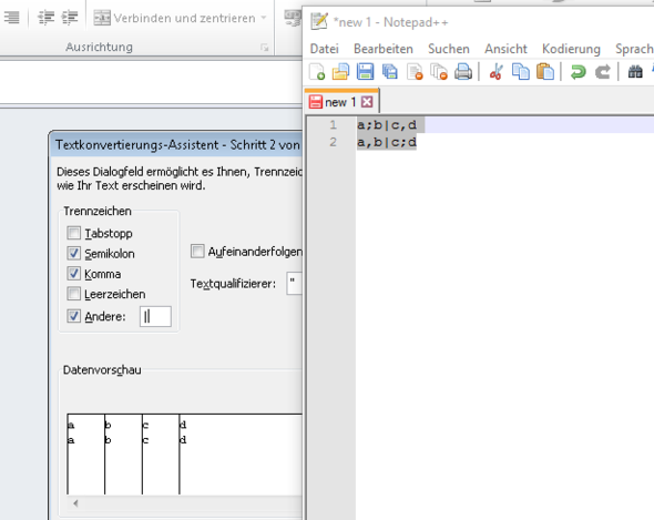Wie kann ich eine CSV-Datei mit mehreren Trennzeichen importieren ...