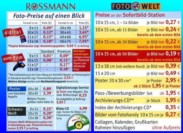 Preise der Fotos vom Sofortdruck bei DM/Rossmann? (Foto, Ausdruck)