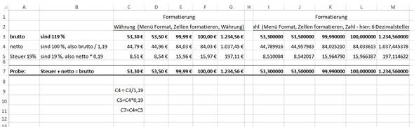 Excel 2013 - Brutto, Steuer, Netto - (Rechnung, Excel, Rechnen)