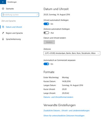 Datum - (Windows 10, Einstellungen, Datum und Uhrzeit)