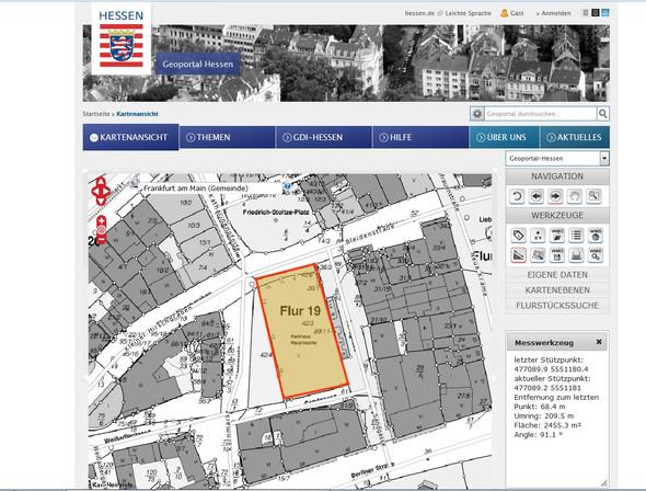 Beispiel Frankfurt Innenstadt - (Freizeit, Flächen berechnen, Satellitenfoto)
