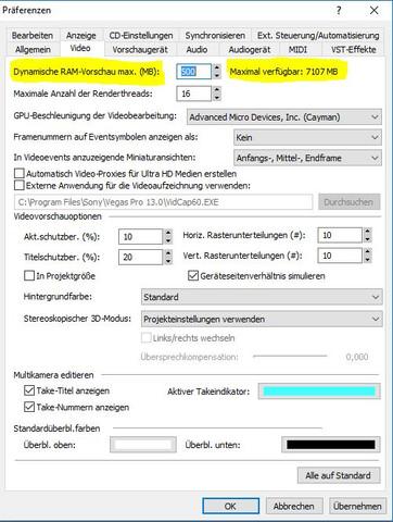 Einstellungen - (PC, RAM, schneiden)
