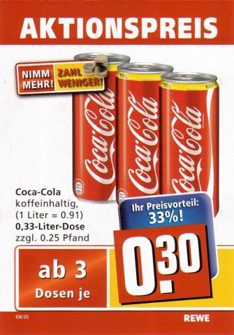 Coca-Cola Dosen, Rewe 3 Dosen - (Geld, billig, Handel)