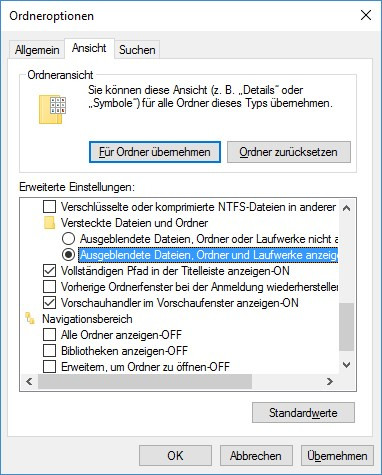 Ordner-Einstellungen - (Computer, PC, Fehler)