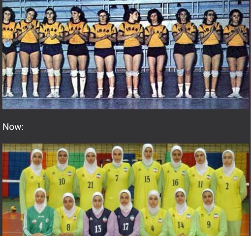 Iranisches Volleyball-Damenteam 1974 und heute - (Frauen, Religion, Länder)