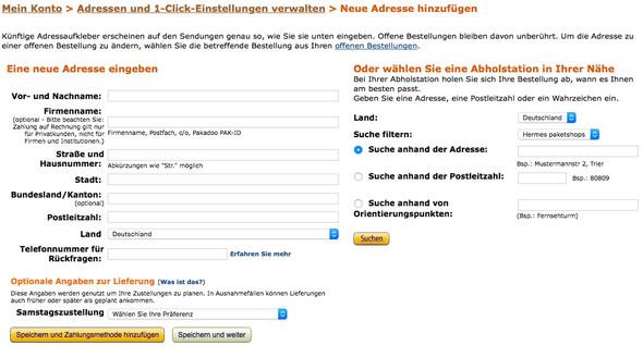 Amazon, Versandadresse, Abholstation - (Amazon, Versand, DHL)