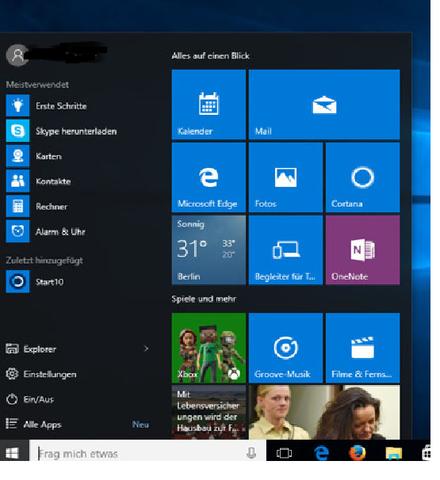 - (Windows 10, Startmenü)