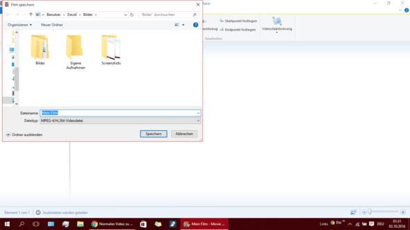 Nach dem auswählen, der gewünschten Verwendung kann man die Datei abspeichern - (Videobearbeitung, Zeitraffer)